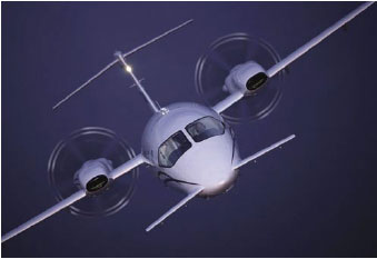 Figure 5-14. The Piaggio P180 includes a variable-sweep canard design, which provides longitudinal stability about the lateral axis.