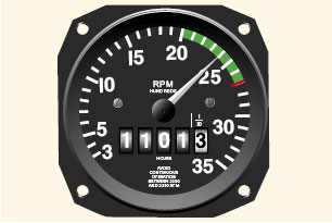 Figure 6-8. Engine rpm is indicated on the tachometer.
