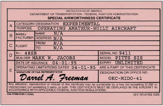 Special Airworthiness Certificate